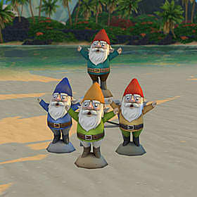 Four garden gnomes with wide eyes, open mouths, and spread arms.