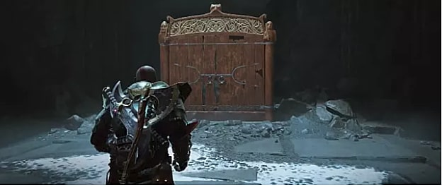Kratos walks toward the closed Jotnar Shrine in the Path to the Mountain Location