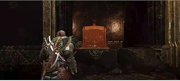 The closed shrine in the Shores of the Nine Location stands before an advancing Kratos