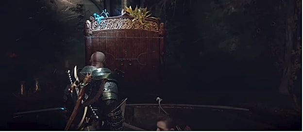 Kratos stands in front of the Jotnar Shrine Location in Tyr's Temple in God of War