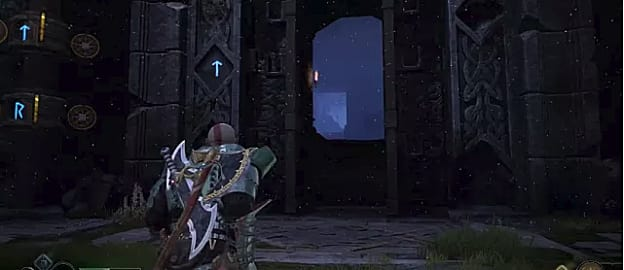 Kratos looks toward the Veithurguard Jotnar Shrine near a large pillar covered in blue runes