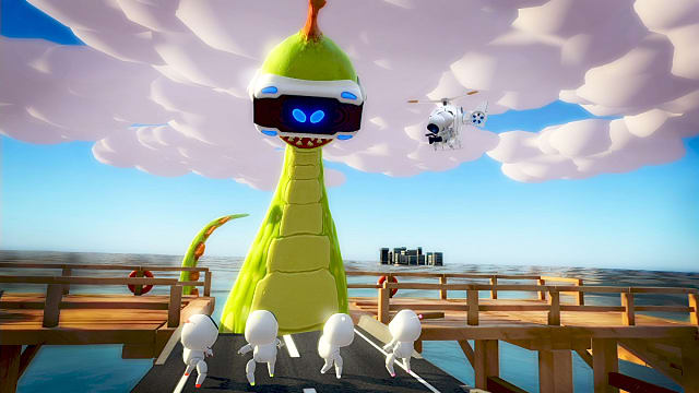 A Pixar-like Godezilla wearing a VR headset looks down a four little white blob characters on a dock in Playroom VR