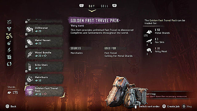 An inventory screen showing a hide bag,case,and pack for golden fast travel pack.
