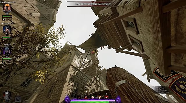 Looking up at a ladder in Vermintide 2 Halescourge