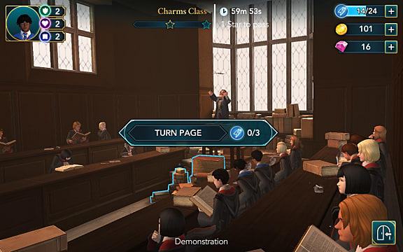 Students taking part in an activity in a Hogwarts classroom