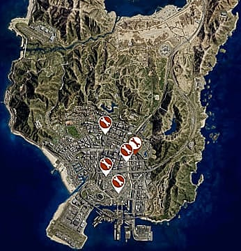 Map of Los Santos showing all of the auto shop locations.