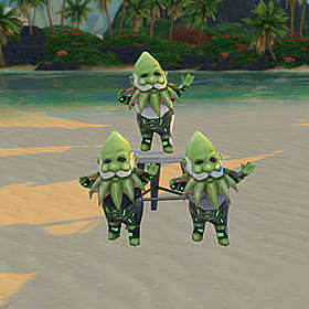 Three green gnomes with spiky green beards standing on a beach.