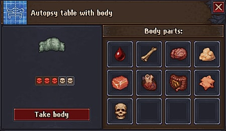 Screen showing autopsy table inventory