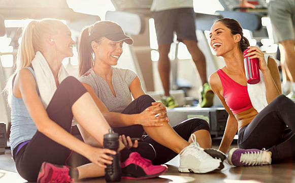 exercise, woman, laughing, happy