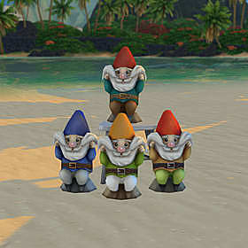 Four regular garden gnomes picking their beards up into smiles.