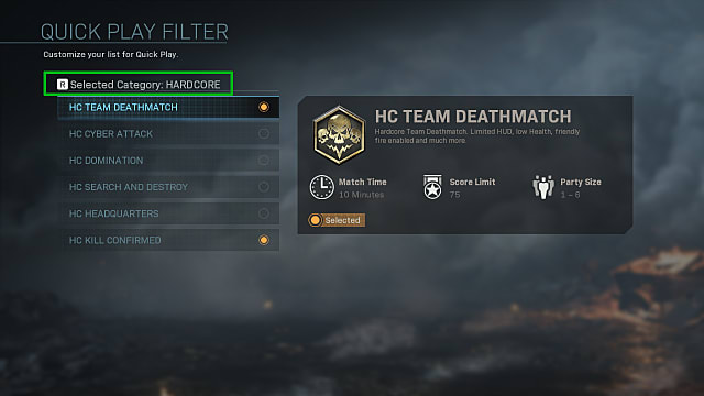 QuickPlay filter menu showing Modern Warfare's hardcore modes.