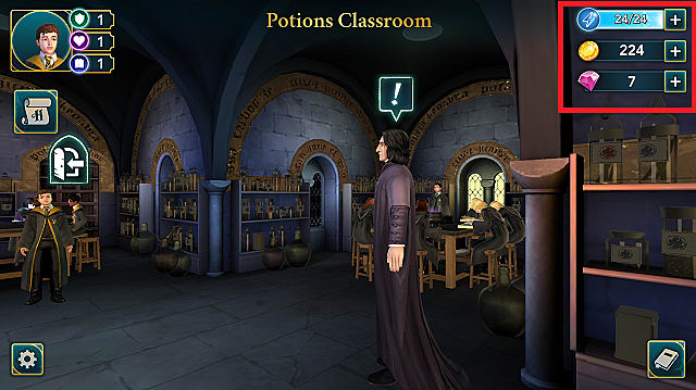 Snape teaches one of his potions classes as students watch on