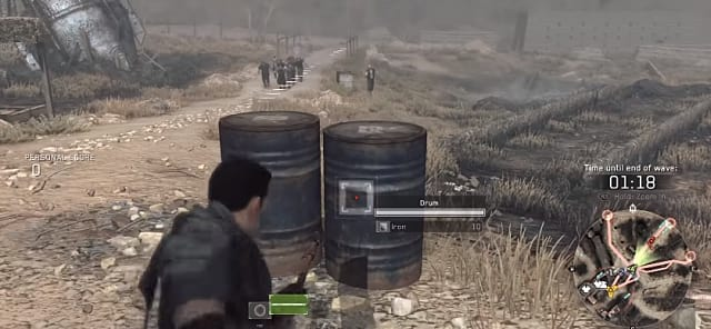 Metal Gear Survive requires you to harvest resources from all sorts of items, including these drum barrels