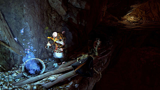 A mouse finding the thief hat in Ghost of a Tale