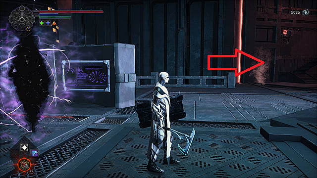 The spawn in front of the Arcology Customs Bridge breach, wearing white armor and holding an blue axe and tower shield.