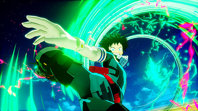 Deku kicks at the camera while in the air in My Hero One's Justice