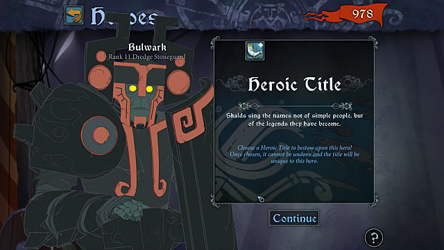 The Banner Saga 3's promotion screen shows Bulwark and the Heroic Title