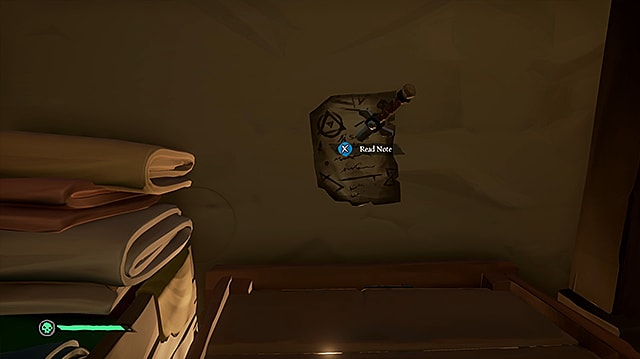 A secret note pinned to the wall with a dagger.