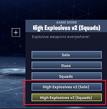 Game mode menu in Fortnite with high explosives modes highlighted