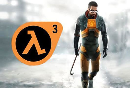 Gordon Freeman with the Half-Life logo