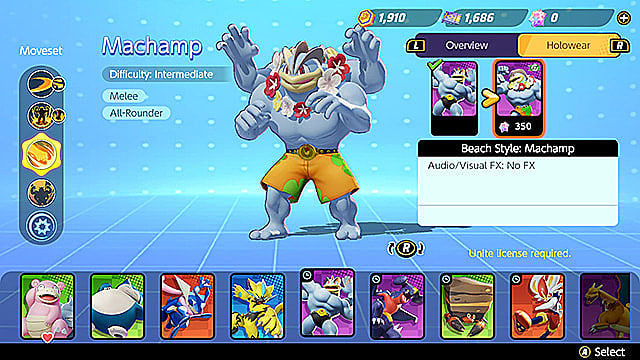The holowear option tab for Machamp, showing the Beach Style skin.