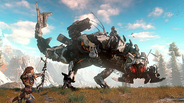 horizon zero dawn, combat, bow, thunderjaw