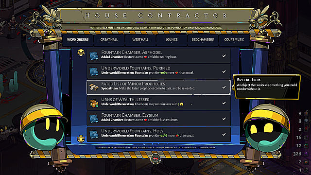 House Contractor screen, showing various projects and how many gems they cost.
