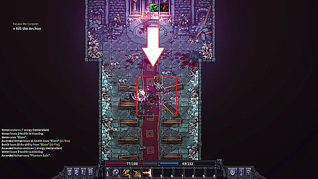 Avoiding the Archon's purple charge attack in the Corrupted Chapel.