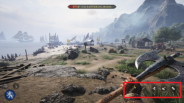 First person view of a Vanguard soldier holding a battle axe on a beach with ships and mountains in the background.