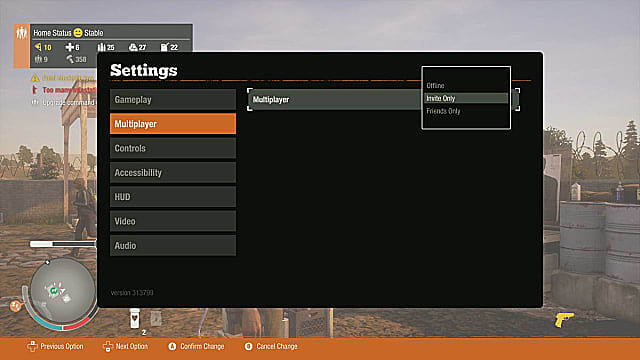 inviting friends to State of Decay 2 through the multiplayer settings menu.