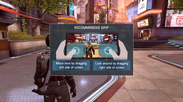 a screen pop up instruction the player on how to move and look around in Shadowgun Legends