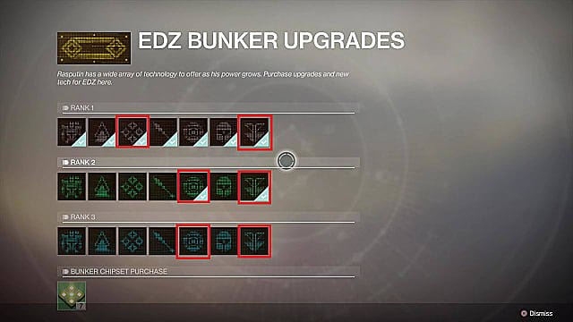 EDZ bunker upgrade ranks.