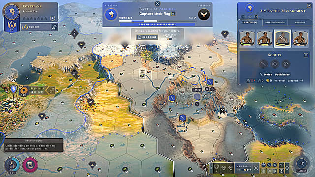 Humankind's map showing combat hexes in a war.