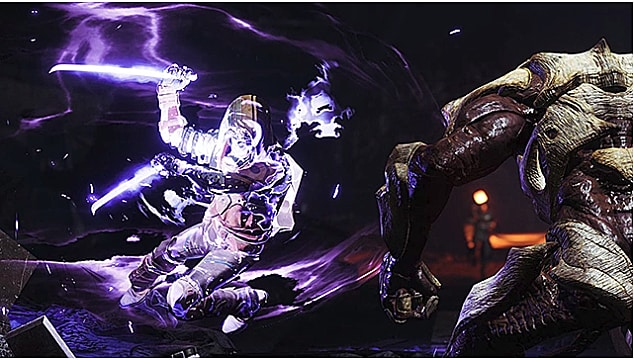 A hunter attacks a hive enemy with nightstalker super