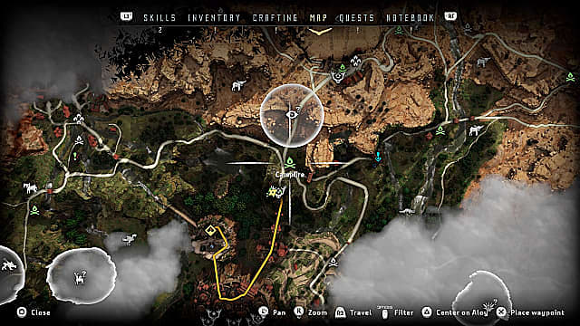 The Horizon Zero Dawn map showing a green campfire fast travel icon in the middle of the map.