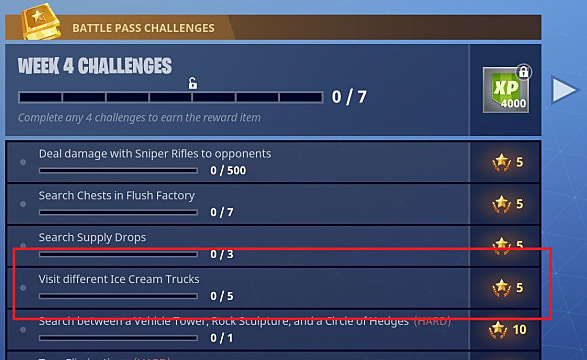 Battle Pass Challenges screen with ice cream trucks challenge highlighted