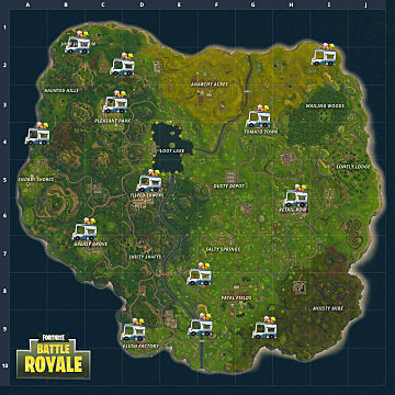 Ice cream truck locations indicated on the Fortnite Battle Royale map
