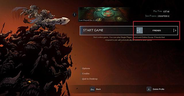 Darksiders: Genesis options screen showing co-op multiplayer options menu.