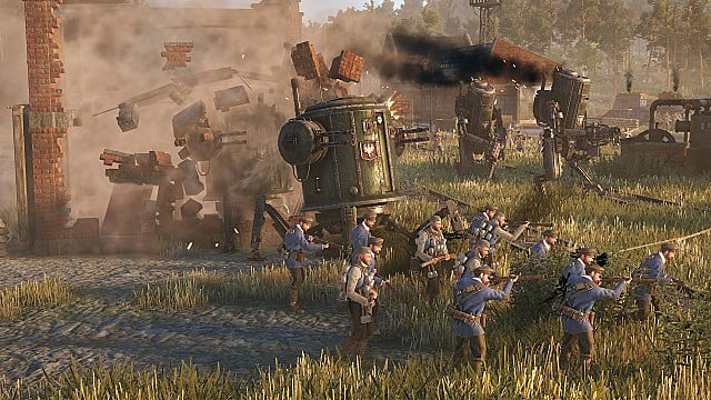 A group of blue shirt Polania soldiers shooting across a field with green cylinder mechs behind them.