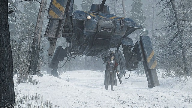 A commander with a white beard standing in front of a four-legged black and yellow tank mech in a snowy forest.