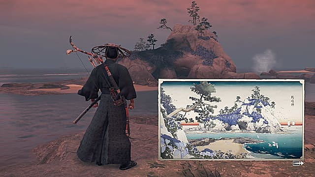 Jin standing on a rock looking at an island with a Japanese art piece of the island superimposed.