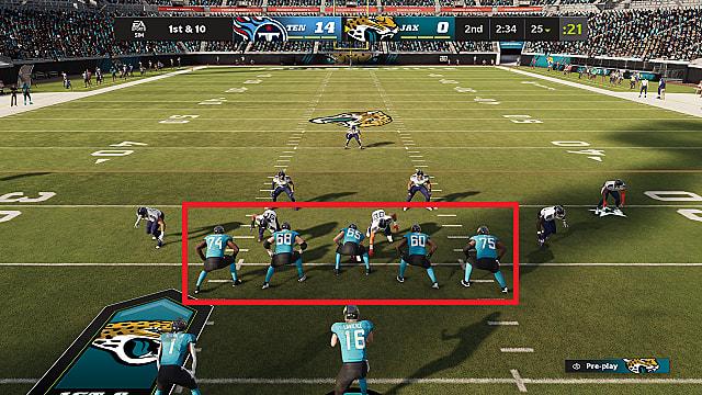 Jacksonville Jaguars tackle box, single back formation, versus Tennessee Titans.