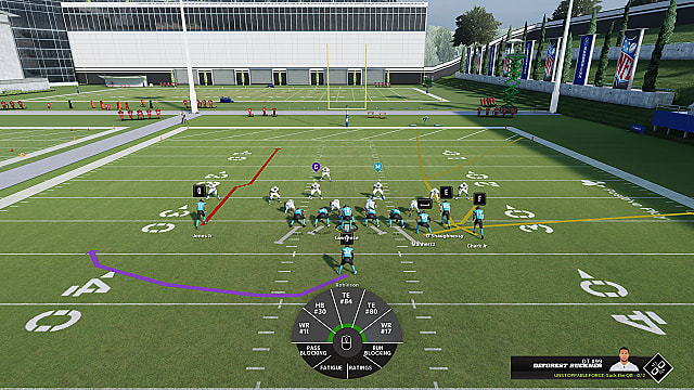 Hitch route overly during Jaguars/Colts practice in Madden 22.