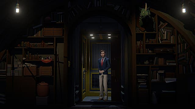 John in khaki pants, blue blazer, and red tie standing in a lit elevator outside a dim room.