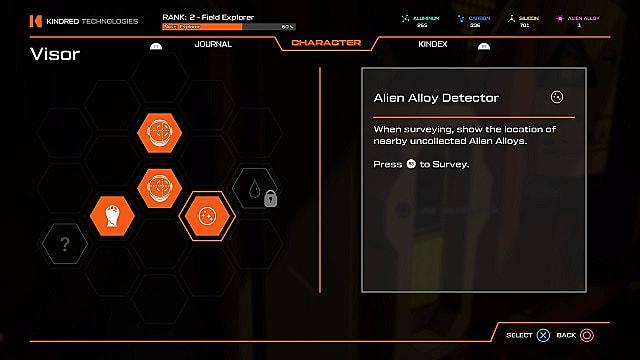 Alien Alloy helmet detector in Journey to the Savage Planet.