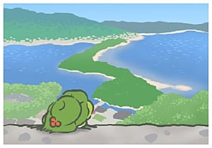Frog looking at ocean and lake in Kansai