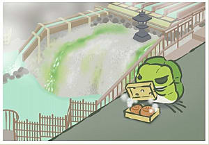Frog looking at box by river in Kanto