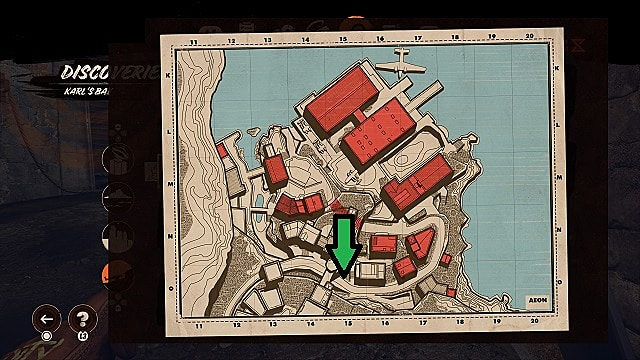 A map of Karl's Bay showing where a delivery stall can be found.
