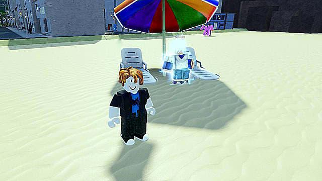The brightly-colored Killua beach stand in Roblox.