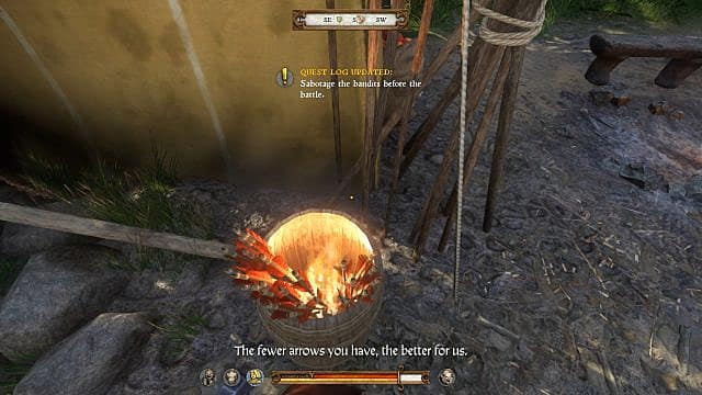 The player sabotages a bucket of arrows with fire inside the bandit camp